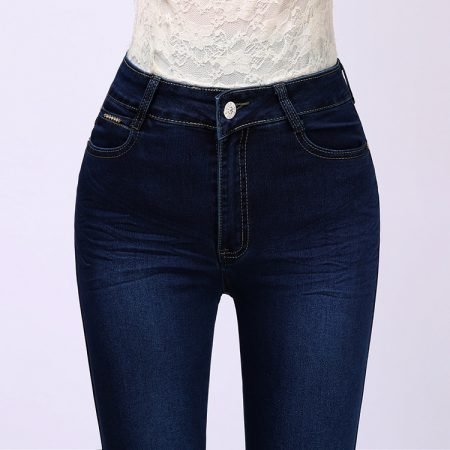 Soft stretch high waist autumn and winter style woman blue jeans